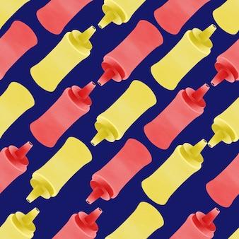 Watercolor cute hotdog sauce bottle seamless pattern deliciouse
