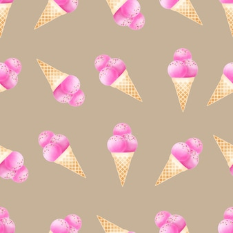 Watercolor cute ice cream cone seamless pattern