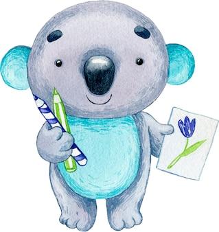 Акварель милая иллюстрация животного персонаж коала с узором