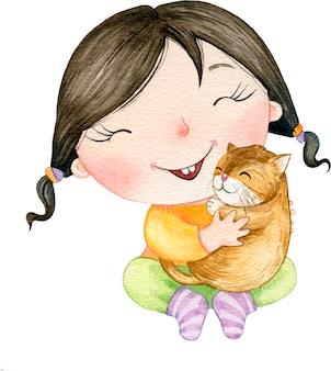 Watercolor cute illustration beautiful baby girl hugging a cat