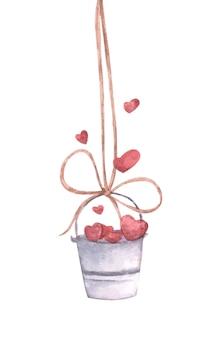 밧줄에 매달려 마음으로 양동이의 수채화 귀여운 그림.