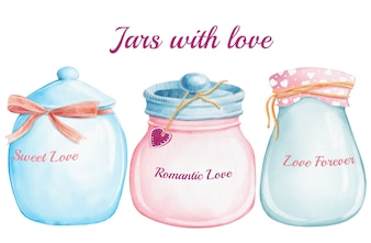 Watercolor cute jars with different love for valentine day
