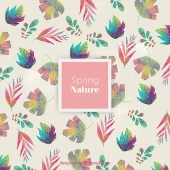 Watercolor cute leaves pattern