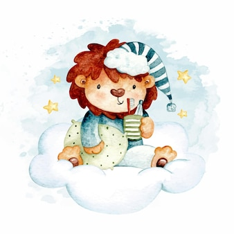 Watercolor cute lion on the cloud