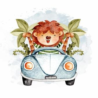 Watercolor cute lion riding blue car