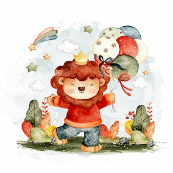 Watercolor cute lion with balloon and star