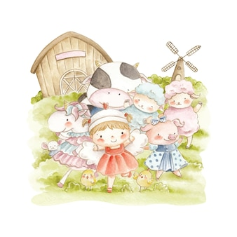 Watercolor cute little girl and farm animals