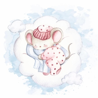 Watercolor cute little mice sleeping on the cloud