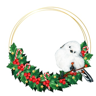 Watercolor cute long tailed tit bird on a holly wreath