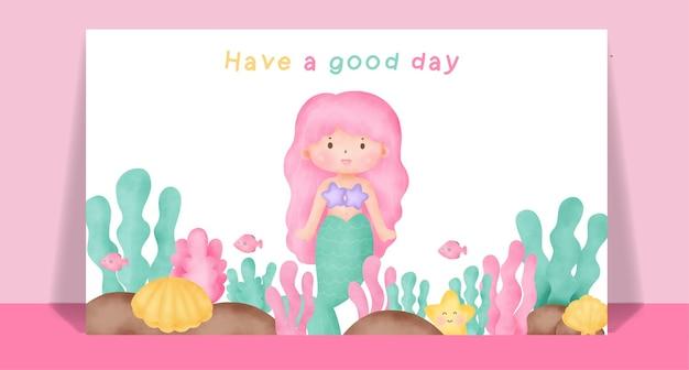Акварель милая русалка для поздравительной открытки.