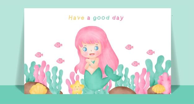 Watercolor cute mermaid for greeting card .