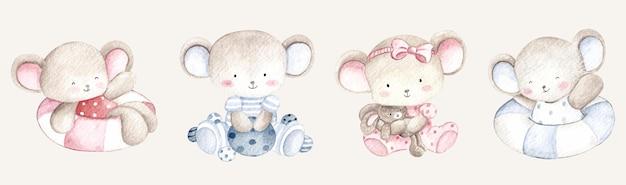Watercolor cute mice