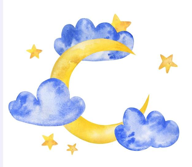 수채화 귀여운 달 구름 손으로 그린 그림
