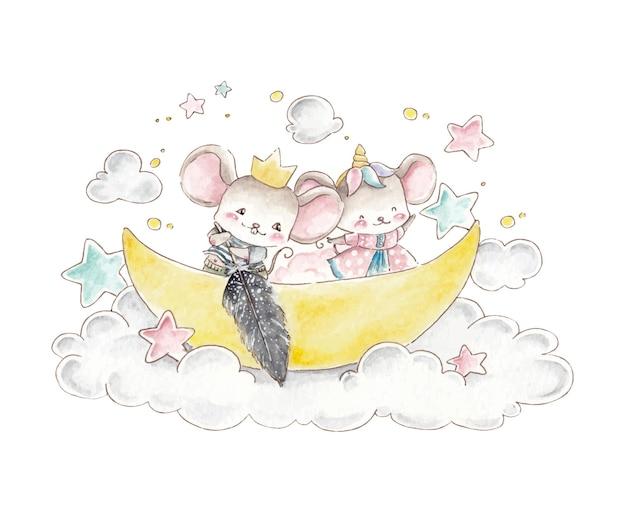 Акварель милая мышка на облаке