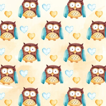 Watercolor cute owl character pattern