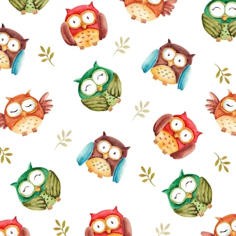 Watercolor cute owls seamless pattern