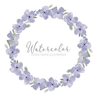 水彩のかわいい紫色の花びらの花の花輪