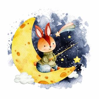 달에 수채화 귀여운 토끼 낚시 스타