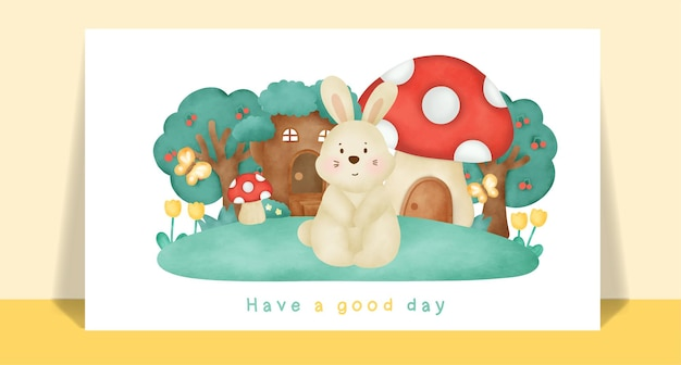 Watercolor cute rabbit  in the forest for greeting card