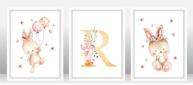Watercolor cute rabbit set