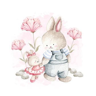 パパと一緒に歩く水彩かわいいウサギ
