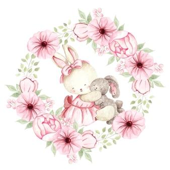 人形と花の花輪と水彩のかわいいウサギ