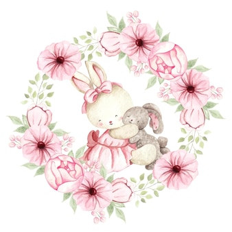 Watercolor cute rabbit with doll and flowers wreath