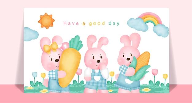 ポストカードのための庭の水彩画のかわいいウサギ。