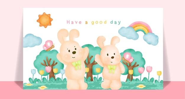 Акварельные милые кролики в саду для открытки.