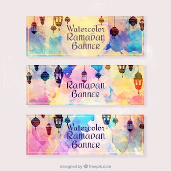 Watercolor cute ramadan banners