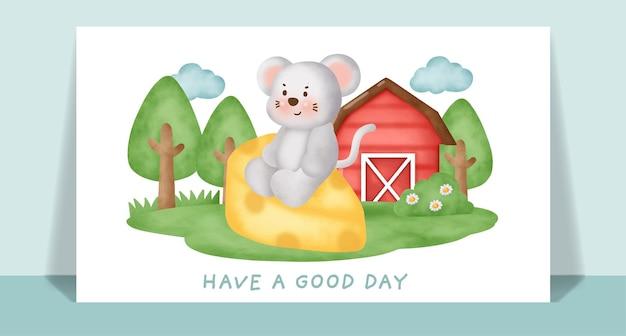 グリーティングカードのための農場の水彩画のかわいいネズミ。