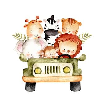 Watercolor cute safari animals in the car