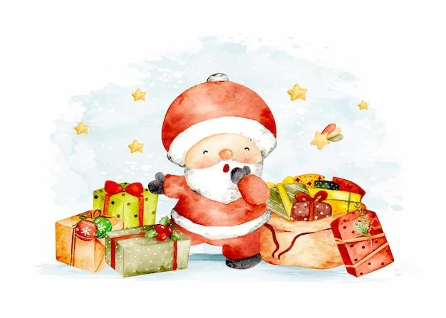 クリスマスプレゼントと水彩のかわいいサンタクロース