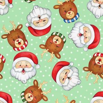 Watercolor cute santa and reindeers seamless pattern