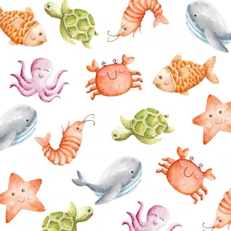 Watercolor cute sea animals seamless pattern
