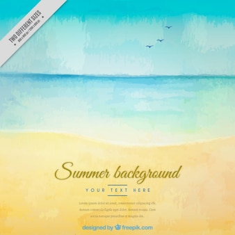 Watercolor cute seashore background