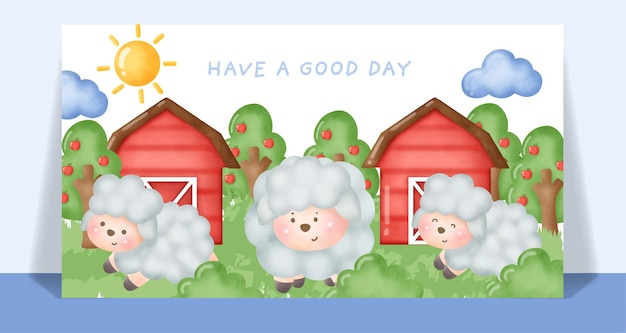 Watercolor cute sheep  in at front of farm card.