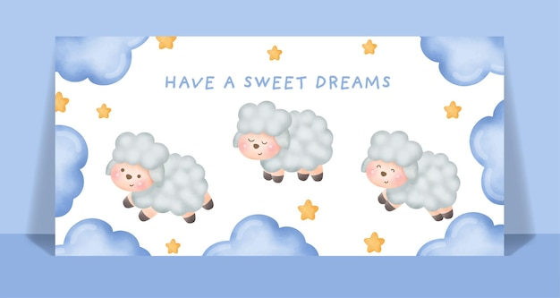 Watercolor cute sheep run and jump in the sky card.