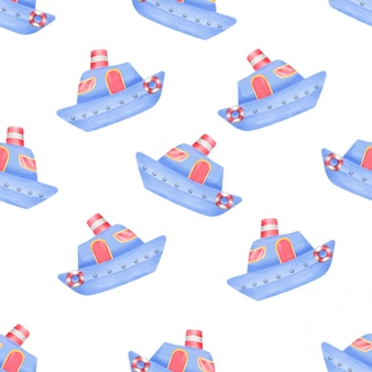 Watercolor cute ship seamless pattern
