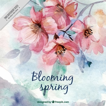 Watercolor cute spring flowers