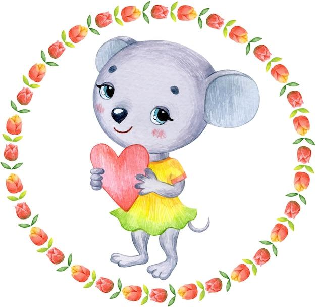 Акварельная милая весенняя мышь с сердечком для открытки на день святого валентина
