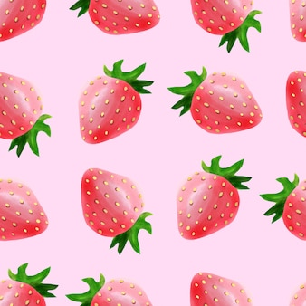 Watercolor cute strawberry fruit seamless pattern pink