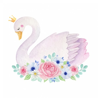Watercolor cute swan with crown and flowers decoration.