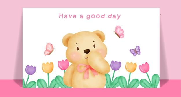 Watercolor cute teddy bear  in flower garden for greeting card .