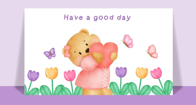 Акварель милый плюшевый мишка в цветнике для поздравительной открытки.