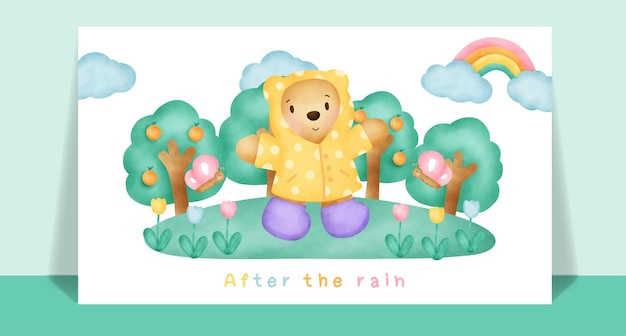グリーティングカードのための雨の中の水彩画のかわいいテディベア