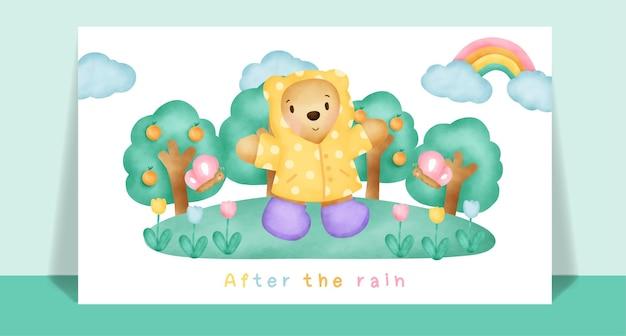 Watercolor cute teddy bear  in the rain for greeting card