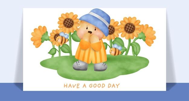Watercolor cute teddy bear  in sunflower field card.