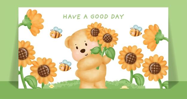 Watercolor cute teddy bear in the sunflower field.