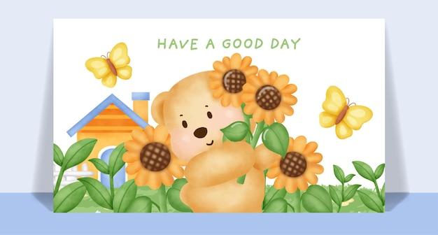 Watercolor cute teddy bear  in sunflower garden greeting card.